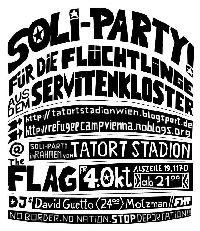 Soli Party zugunsten der Flüchtlinge im Servitenkloster - 4.10.2013 - Flag